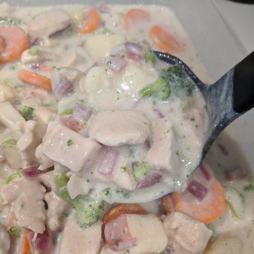 chicken pot pie soup serve and enjoy