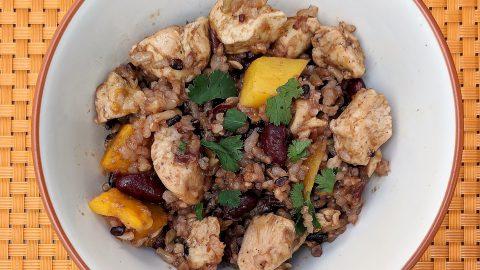 Chicken Ginger Mango Rice Bowl