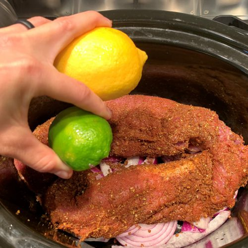 pulled pork squeeze half lemon half lime over pork
