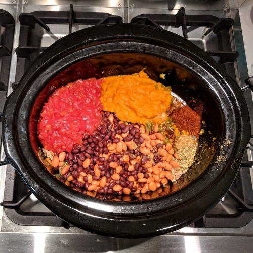 pumpkin chili add all ingredients to crock pot