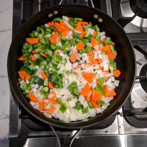 pumpkin chili saute onion carrot bell pepper