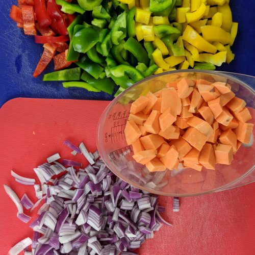 sweet potato skillet prep all veggies
