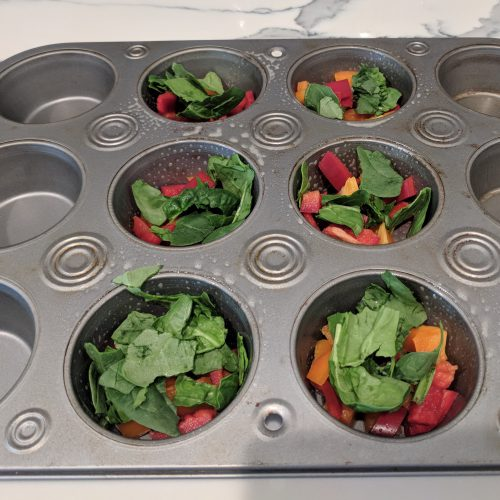 veggie egg muffin add bell peppers spinach