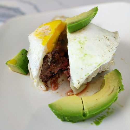 avocado egg burger final cut open