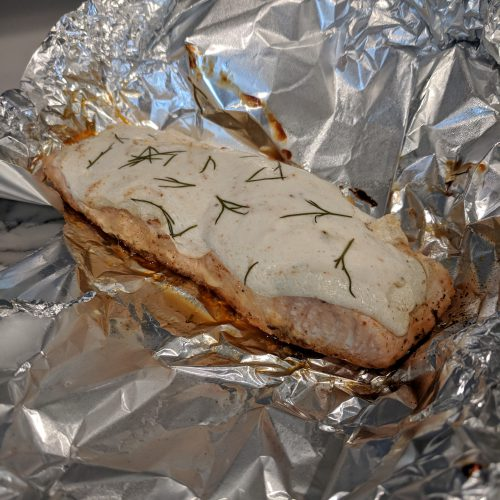 carefully remove salmon from foil pack