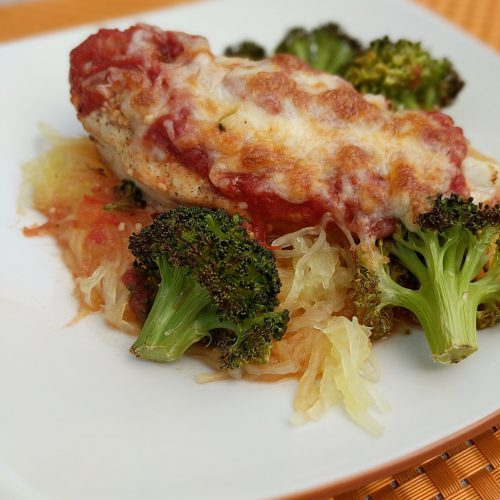 chicken parm final serve w. broccoli spaghetti squash