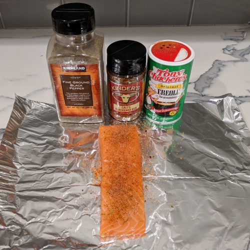 lightly season salmon w. creole pepper and blackened seasoning
