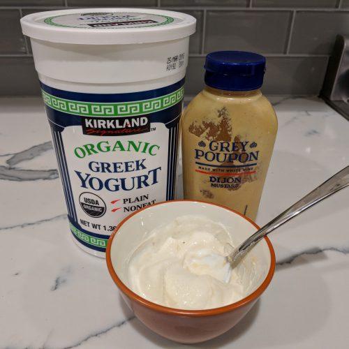 mix greek yogurt and mustard