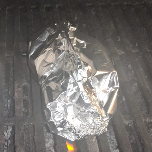 place foil pack on grill for 14 min