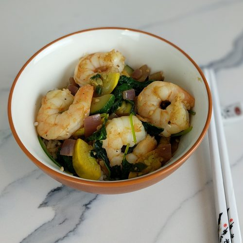 shrimp stir fry w. chopsticks