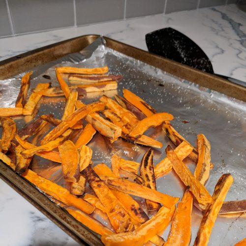 sweet potato fries flip and season with sea salt