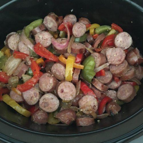 add sliced sausage back to crock pot
