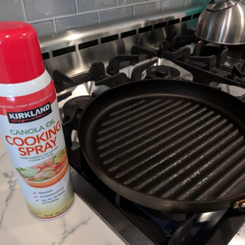 buff chicken salad step 1 spray pan with cooking spray