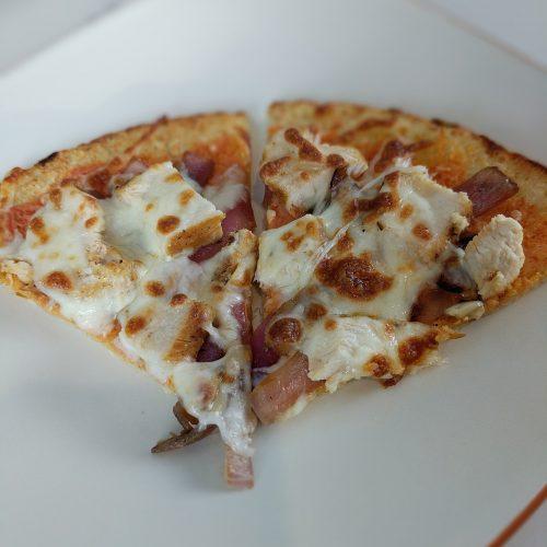 buffalo chicken pizza cut into 6 even slices