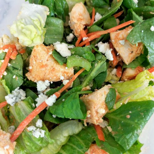 buffalo chicken salad close up