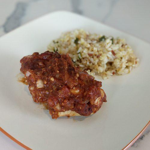 chicken tikka serve with rice