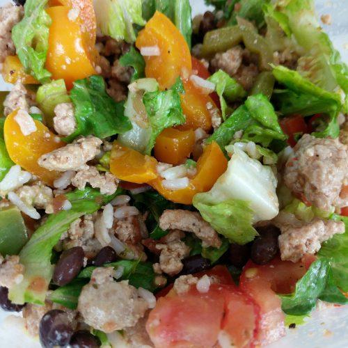 close up burrito bowl