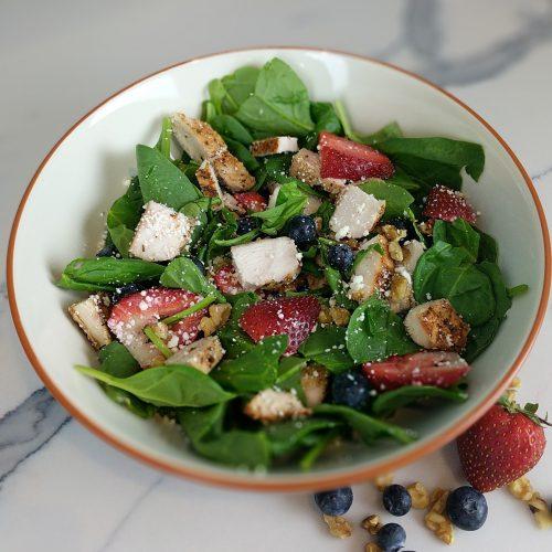 close up of bigger bowl summer berry salad