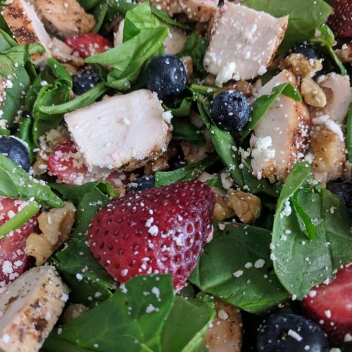 close up of summer berry salad