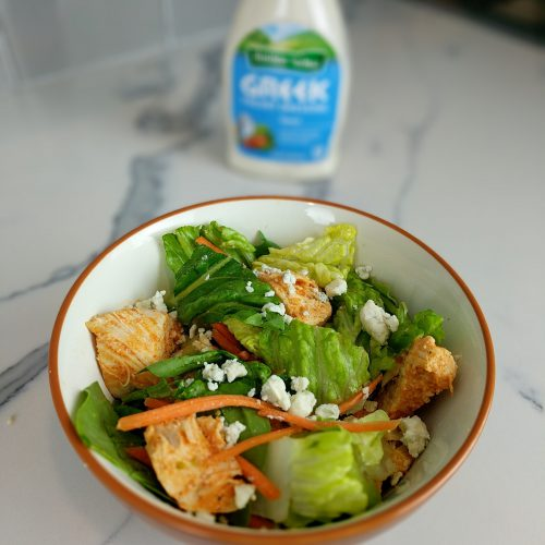 final salad square with greek dressing