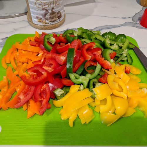 slice peppers and onions