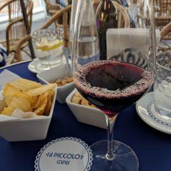 snacks and wine at il piccolo