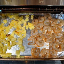 broil shrimp w. pineapple for 4 minutes
