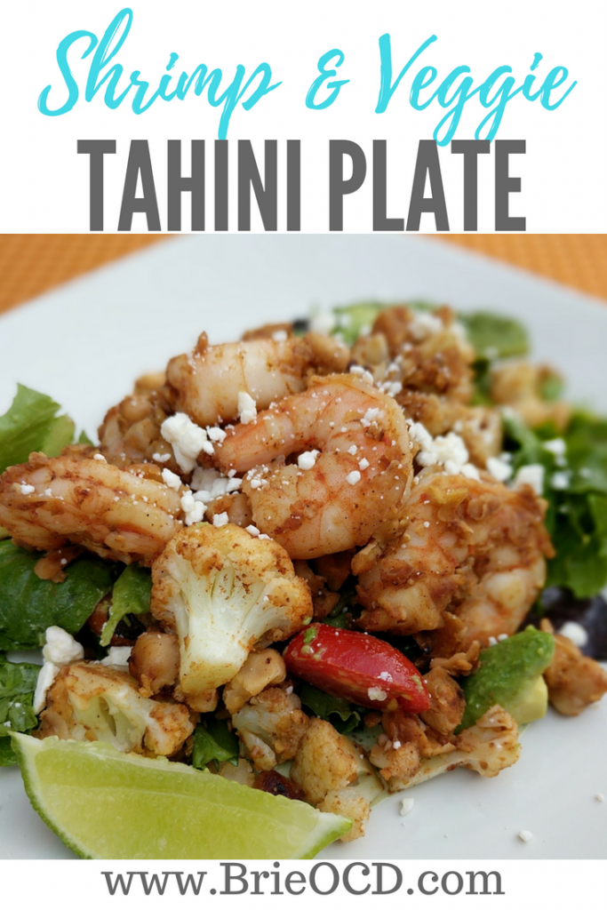 shrimp veggie tahini plate