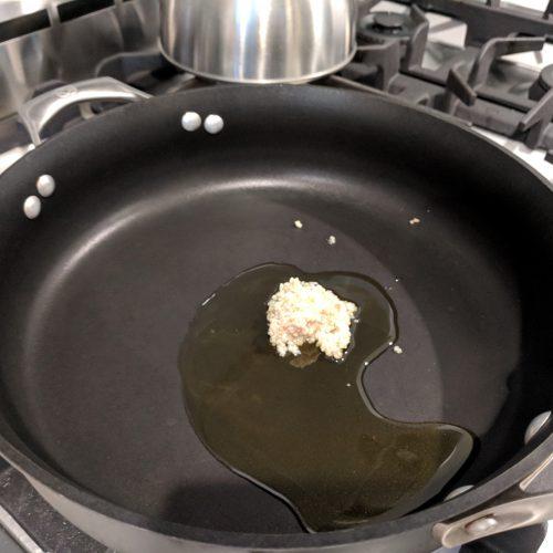 heat evoo and garlic