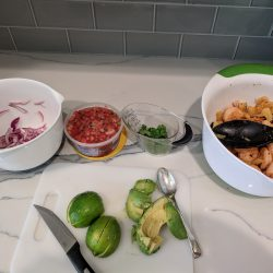 toast taco shells and then compile your tacos with all ingredients