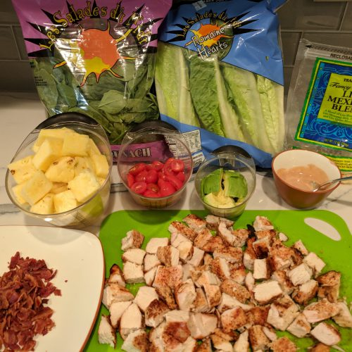 chicken bacon ranch salad line up all ingredients