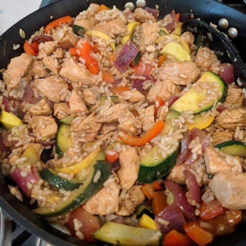 chicken veggie stir fry add everything together in one pan