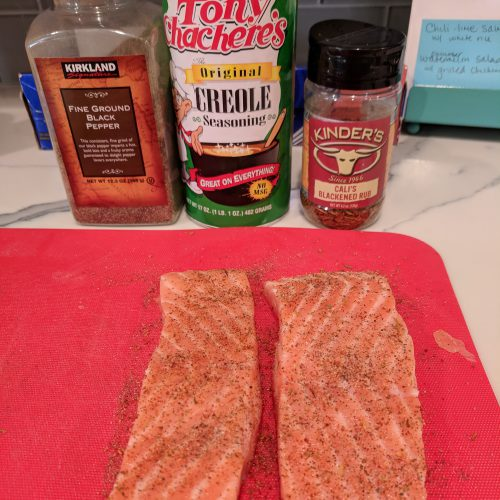 chili lime salmon pat salmon dry and season