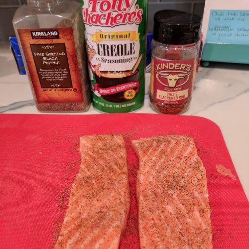 chili lime salmon pat salmon dry and season
