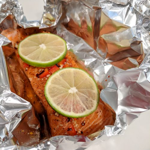 chili lime salmon put in foil pour glaze and top with lime