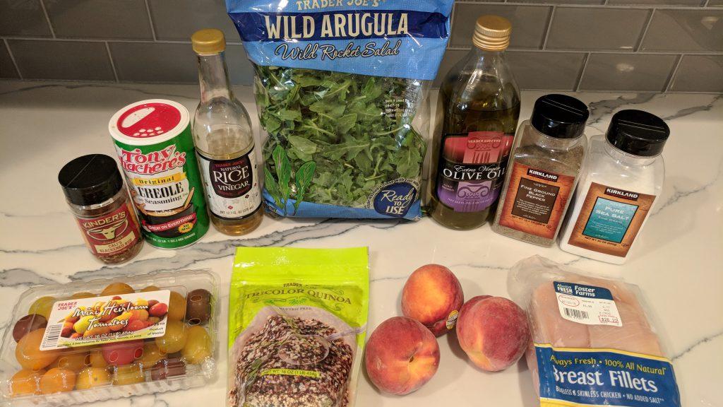 peach & quinoa salad ingredients