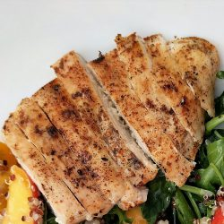 peach and quinoa salad slice grilled chicken