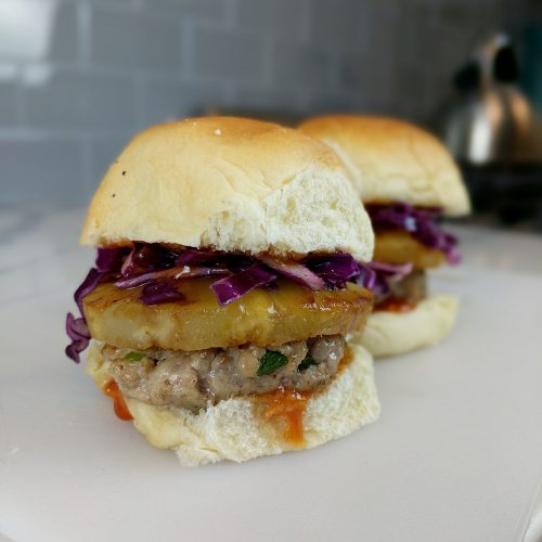 pork and pineapple slider assemble patties and enjoy