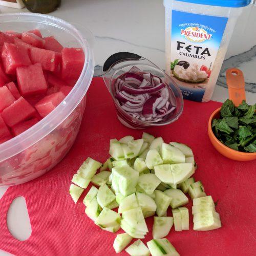watermelon salad cube watermelon chop mint and cucumber