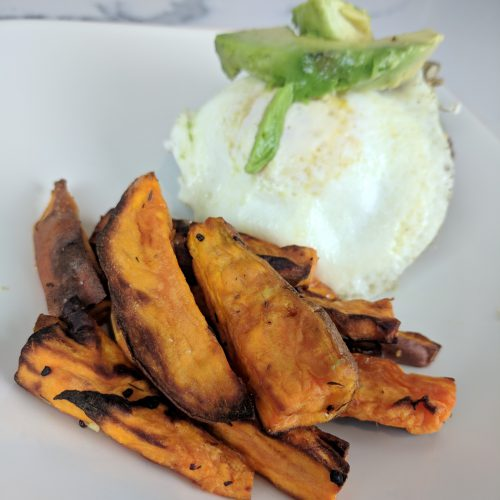 air fryer sweet potato fries final on plate