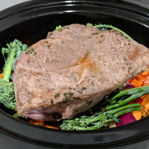 beef and veggie crock pot roast pour sauce over meat and veggies