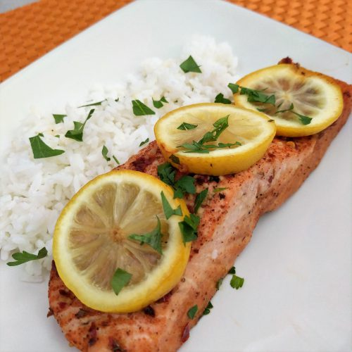 honey lemon salmon top with parsley serve with rice