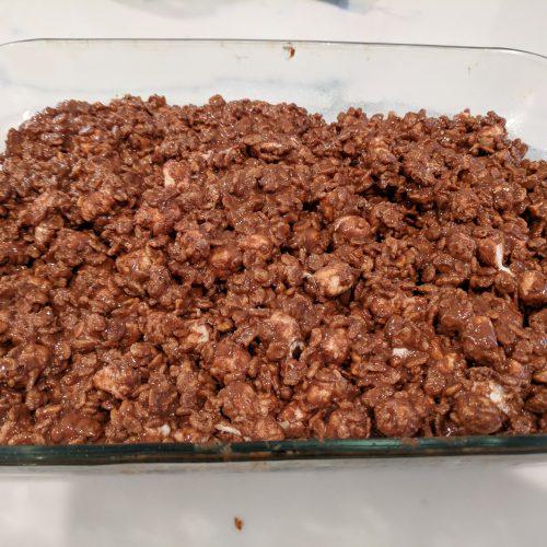 rocky road treats press mixture evenly into baking dish