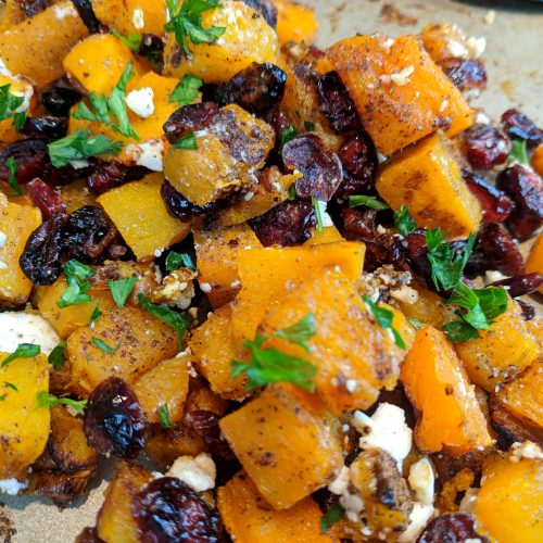 cranberry feta butternut squash top with parsley serve