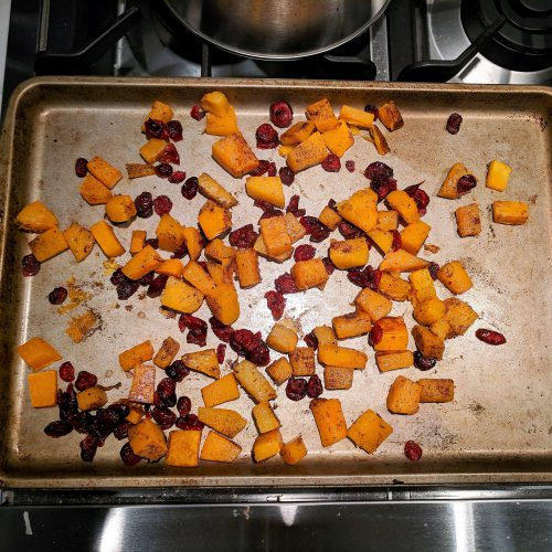 cranberry feta butternut squash toss with cranberries