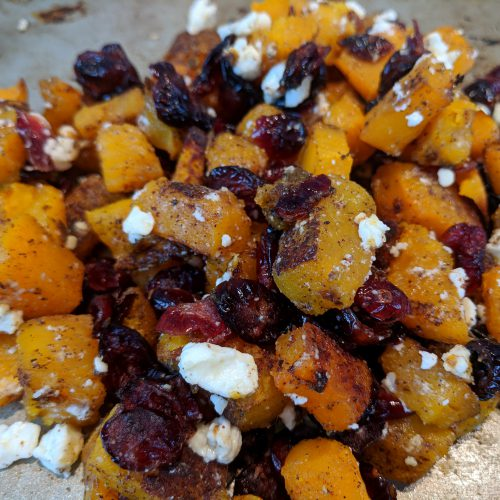 cranberry feta butternut squash toss with feta and agave