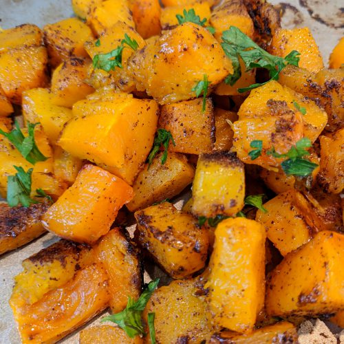 lindsays butternut squash garnish w. parsley serve