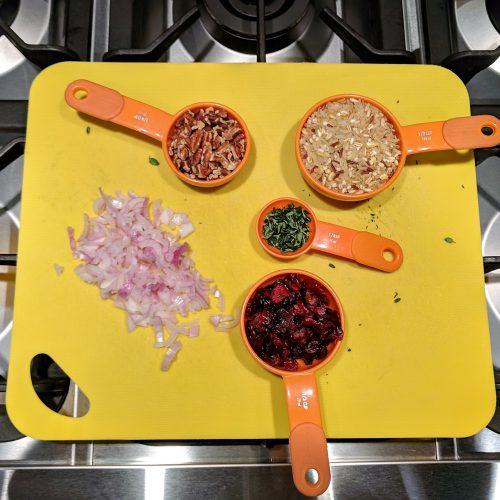 stuffed acorn squash measure out cranberries pecans rice etc