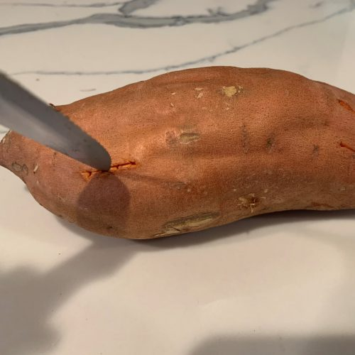 ip sweet potatoes poke holes in potato